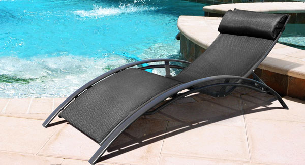 Sun Lounge Chair With Black Textilene Material And Mat Black Aluminium Frame