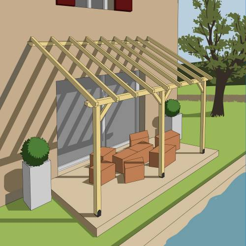 wood lean to pergola 4 2 x 3 m buy wood lean to pergola 4 2 x 3 m. Black Bedroom Furniture Sets. Home Design Ideas