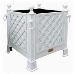 Galvanized Steel Planter with wooden latticework