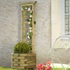 Wall Wooden Planter  055 +-Trellis