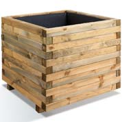 Square Wooden Planter STOCKHOLM 100