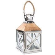 Lantern in wood and metal - Leather Handle