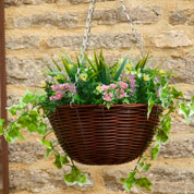 Hanging Basket Artificial Plant - Pink and White